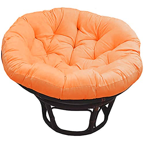 LEKÄRO Papasan Chair Cushion,Outdoor Indoor Papasan Cushion Hanging Swing Egg Chair Garden Rattan Chair Mats,Diameter 105cm,Orange