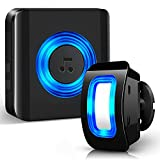 Detector de Movimiento Exterior - Sensor de Movimiento Interior con Timbre Inalámbrico - Timbre de Tienda Satisure, 58 Tonos timbre Alarma de Entrada LED azul para Casas, Oficinas, Fábricas