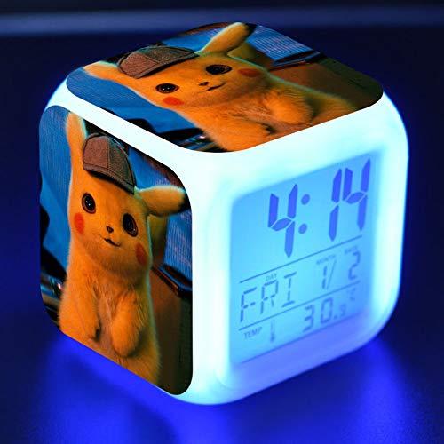 shiyueNB Digitaler Wecker Kinder LEDUhr Verzweiflung Cartoon Detective Pikachu Toy Bunte beleuchtete Wecker DesktopUhr Wach ins Licht