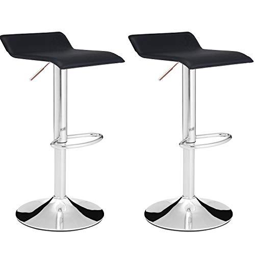 MIFI 2 X Barhocker 2er-Set Barhocker Barstuhl Barhocker Arbeitsstuhl Gestell aus stabilem Stahl gut gepolsterte Sitzfläche (Schwarz)