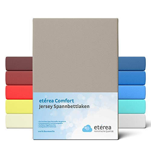 etérea Comfort Jersey Spannbettlaken 180x200 bis 200x200cm - Weiches Spannbetttuch aus 100% Baumwolle, Bettlaken mit ca. 25 cm Steghöhe und 140 g/m², Taupe