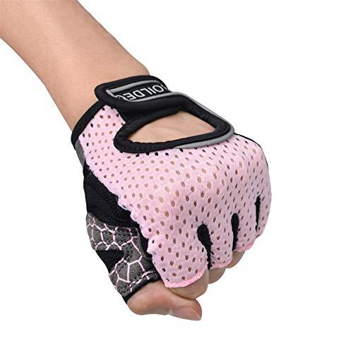 ERSD Fitness-Handschuhe Fahrrad-Handschuhe Ausrüstung Anti-Rutsch-Palm Kurzfinger-Yoga Half Finger Sport-Handschuhe (Farbe : Rosa, Size : XL)