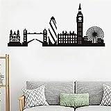 Inglaterra London Skyline Landmark Budilding City Silueta Paisaje Noria Etiqueta de la pared Vinilo Arte Calcomanía Sala de estar Dormitorio Oficina Decoración para el hogar Mural