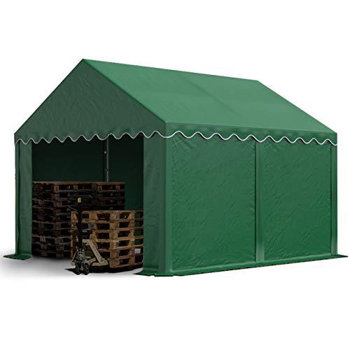 TOOLPORT Lagerzelt stabiles Industriezelt 3x4 m mit ca. 500 g/m² PVC Plane in dunkelgrün Weidezelt Unterstand mit Bodenrahmen und Dachverstärkung