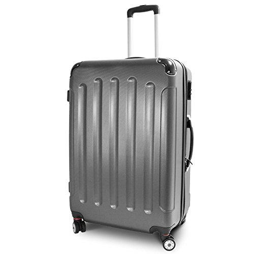 BERWIN® Trolley Reisekoffer Reisetasche Gepäcktasche Größe XL Stripes Farbe Dunkelgrau