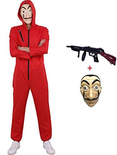 Yigoo Haus des Geldes Kostüm Overall mit Dali Maske Cosplay für Herren, Damen Erwachsene - Fasching, Karneval, Halloween Rot 4 L