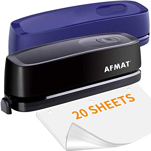 AFMAT Electric Three Hole Punch Heavy Duty, 20-Sheet Punch Capacity, 2 Pack, Black and Blue