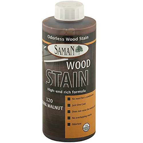 SamaN Interior Water Based Wood Stain & Natural Furniture, moldings, Wood Paneling and cabinets Stain (Dark Walnut TEW-120-12, 12 oz)