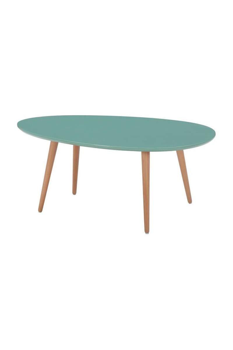 L 98 x l 61 et H 39 x l 48 cm KIVI Lot de 2 tables basses gigognes scandinave blanc laqu/é mat