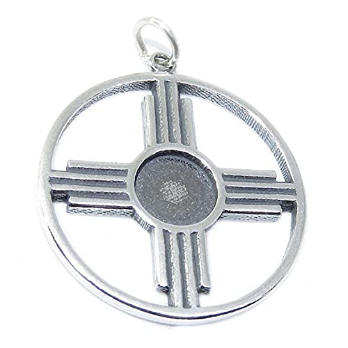 Native Zia Sun New Mexico State Symbol 925 Solid Sterling Silver Charm Pendant Bracelet Jewelry Making Supply