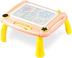 Toys for Age 2-3, Magnetic Drawing Board Toddler Drawing Board with 4 Vivid Colors Zone, Erasable, Learning & Education Toys for 2 3 Year Old Girls & Boys Birthday Gift-Orange