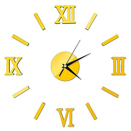 Reloj de Pared de Bricolaje,Superficie de Espejo 3D de Bricolaje Moderno Reloj de Pared de Gran Número Pegatina Decoración de Oficina en Casa Espejo Sala de Estar Diseño de Arte 40*40cm