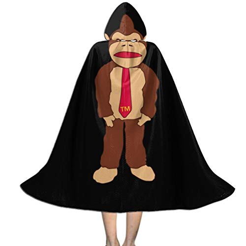 Donkey Kong Tm Krawatte Unisex Kinder Umhang mit Kapuze, Halloween, Party, Dekoration, Rolle, Cosplay, Kostüme Outwear