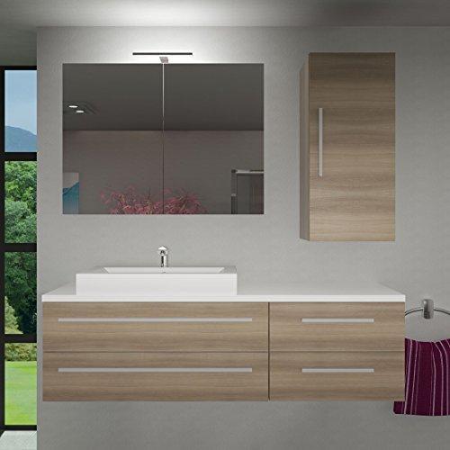 Badmöbel Set City 210 V2 Eiche hell, Badezimmermöbel, Waschtisch 160cm, Beleuchtung Spiegelschrank:mit 1 x 5W LED-Strahler +30.-EUR