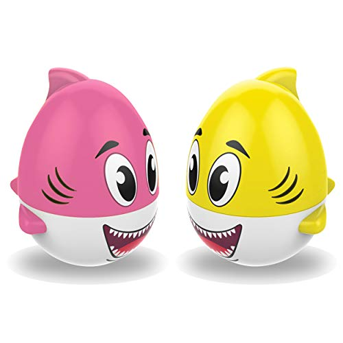 Kidzlane Wobble Toy for Babies – 2-Pack Pink and Yellow Baby Shark Weeble Wobble Toy with Shaking Sound Effect – Baby Kids Bath Toy Floats in Water – 6 Months +