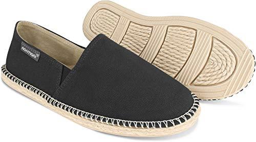 normani Sommer Schuhe - Klassische Espadrillas - Flache Stoffschuhe - Freizeitschuhe für Damen und Herren [Gr. 36-46] Farbe Schwarz Style 2 Größe 42