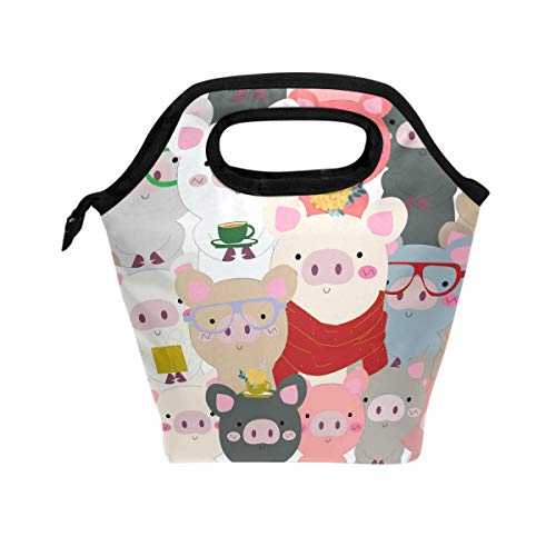 Cartoon Funny Baby Pig Lunch Bag Insulated Lunch Box Pink Red Animal Lunch Tote Bag Snacks Organizer for Women Men Adults College Work Picnic Hiking Beach Fishing