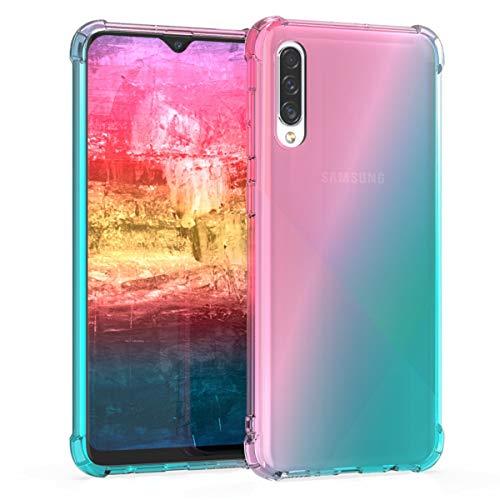 kwmobile Cover per Samsung Galaxy A30s - Custodia in TPU Silicone per Cellulare Samsung Galaxy A30s - Fucsia/Blu Chiaro/Trasparente