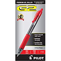 12-Pack Pilot G2 Premium Refillable & Retractable Rolling Ball Fine Point Gel Pens (Red Ink)