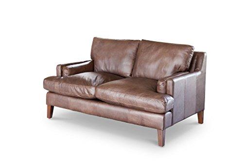 pib Ledersofa Sanary - Genarbtes Leder, Rindsleder, Dicht gepolstert | EIN Zweisitzer Sofa aus zeitlosem Vollnarbenlededer - Schokoladen-braun (L151 x H85 x P98 cm)