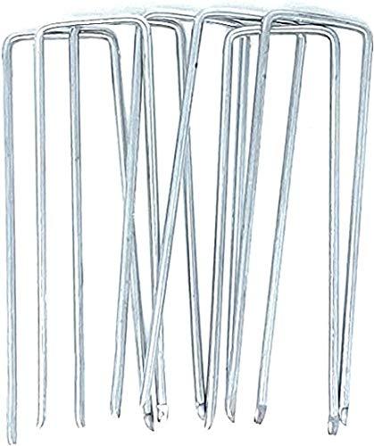 GardenPrime 100x Clavijas de Jardín Galvanizadas para Sujeción de Malla Antihierbas, Tela Negra de Jardín, Tela de Fieltro, Césped Artificial (Largo 100 mm, Acero Galvanizado, Protección Antióxido)