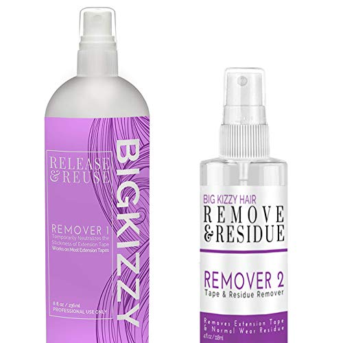Big Kizzy Remover 1 + Remover 2 bundle, Two Step System Tested & Proven Fastest & Easiest Tape In Extension Adhesive and Residue Remover