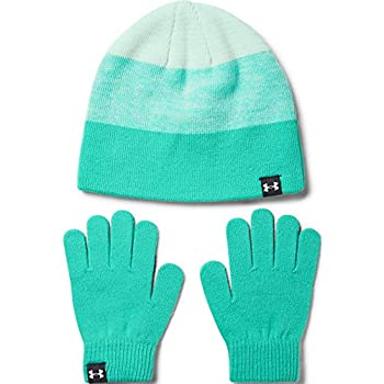 Under Armour Girls  Beanie Glove Combo  Comet Green  361 /White  One Size Fits All