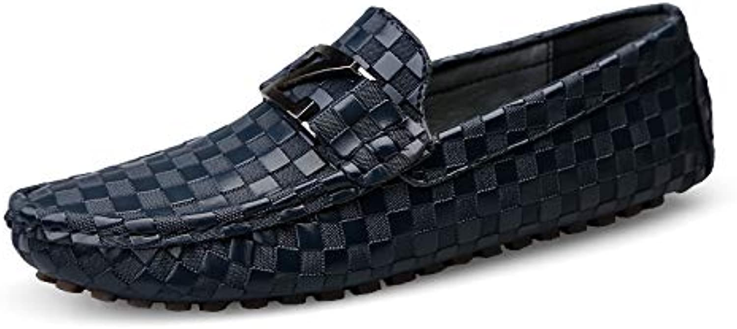 Men's shoes,Leather Loafer Slip-On Casual Driver Flat Boat shoes Soft Sole Comfort Driving shoes Cycling shoes,bluee,39