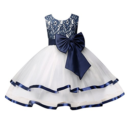 Zhhlinyuan 3-8 Year Old,Mode Little Girls Sleeveless Big Bow Princess Dress Kids Tulle Lace Party Pageant Wedding Bridesmaid Tutu Dresses