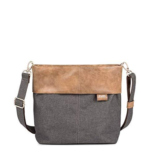 Zwei Olli OT8 Tasche Damen Umhängetasche Schultertasche 25x23x10 cm (BxHxT), Farbe:, Graphit (Grau/Braun), One size