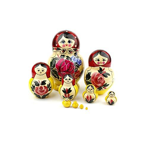 Russische nestpoppen, 10 traditionele Matryoshka klassieke Semyonov rode stijl | Houten pop cadeau speelgoed, met de hand gemaakt in Rusland (Semyonov Rood Ronde, 10 stuk)