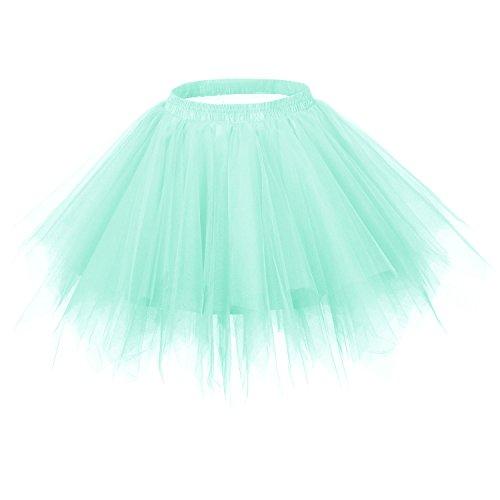 Ellames Women's Vintage 1950s Tutu Petticoat Ballet Bubble Dance Skirt Mint S/M