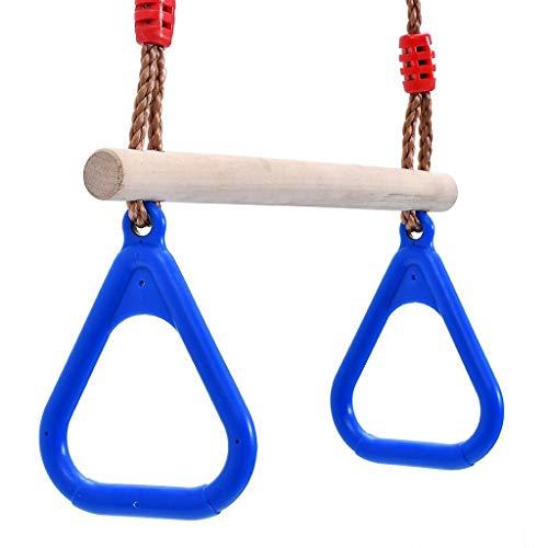Hochleistungs-Trapez-Schaukel-Gymnastikkombi mit Ringen und extra langer, seilbeschichteter Kette - ideal for das Spielen im Freien, Dschungel-Schaukelset im Hinterhof +++ (Color : Blue)