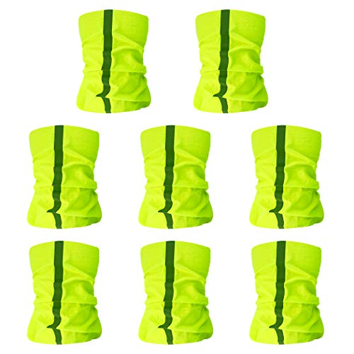 mifengda 8pcs Neck Gaiter Visibility Reflective Safety Face Bandanas Summer Neck Gaiter Yellow