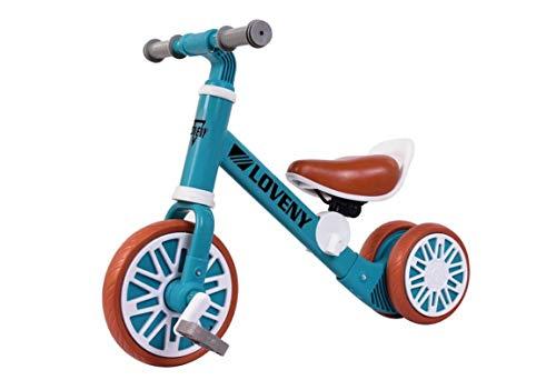 BDW Bicicleta sin pedales azul para niños, a partir de 18 meses, pedales 2 W1, para niños, para equilibrio, con sillín y manillar de altura ajustable || KOSTELNOOS envío ||