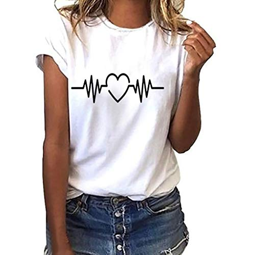 Dasongff dames T-shirt meisjes tieners zomer, T-shirt wit dames losse katoen crop tops elektrocardiogram grafisch korte mouwen t-shirt thees blouse casual joker crop top bovenstuk X-Large wit