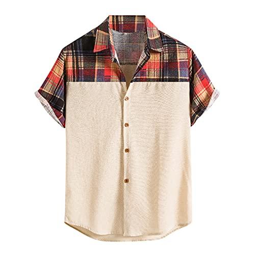 YUTING Camisa de manga corta para hombre, de verano, informal, estampada, de algodón y lino, con botones Khaki_2 XL