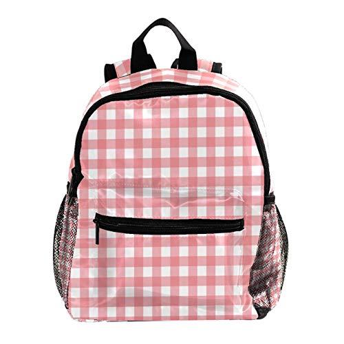 School Backpack Kids Schoolbag Student Bookbag,Pink White Plaid