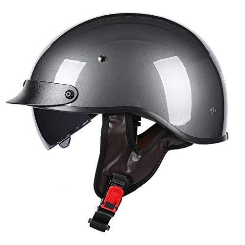 DJCALA DOT Homologiert klassieke retrostijl Duitse halve helm voor scooters open gezicht Harley jethelm Chopper Cruiser Bike ATV muts doodshoofd voor volwassenen heren en dames (53-60 cm)