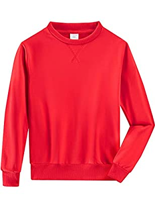Spring&Gege Youth Basic Sport Crewneck Pullover Sweatshirts for Boys and Girls Size 11-12 Years Red