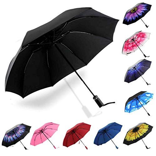 Siepasa Inverted Travel Umbrella, Anti-UV Waterproof Windproof Folding Umbrella -One button for Auto Open and Close (Glaze Flower)