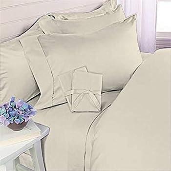 HC COLLECTION 1800 Series Microfiber Sheet & Pillow Case Set Queen Cream