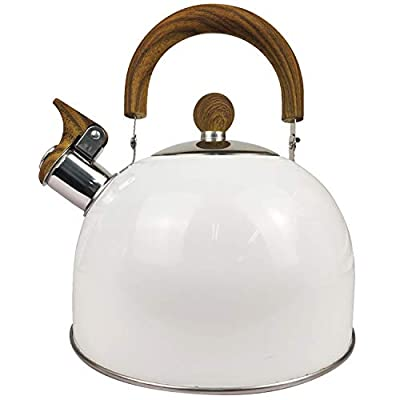 Pearshek Tea kettle 2.5 Quart Tea Kettle Stovetop Whistling Teapot Stainless Steel Tea Pot with Wood Pattern Handle Anti-Hot Handle and Anti-slip, Suitable for All Heat Sources (White)