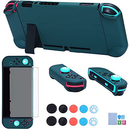 Dockable Case for Nintendo Switch - COMCOOL 3 in 1 Protective Cover Case for Nintendo Switch and Joy-Con Controller with Screen Protector and Thumb Grips - Teal