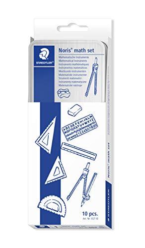 Staedtler 557 10 Noris Math Set, kit di strumenti per le prime lezioni di matematica, con matita, temperino, compasso, righello, squadre, goniometro