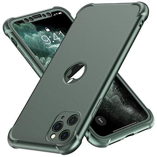 ORETECH Compatibile con Cover iPhone 11 Pro, Custodia per iPhone 11 Pro,con[2 x Pellicola Protettiva Vetro Temperato] Antiurto Ultra Sottile Hard PC TPU Silicone Anti Graffio per iPhone 11 Pro - Verde