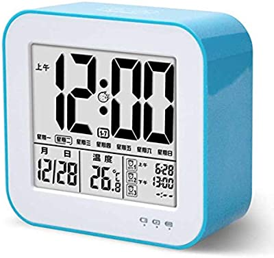 LTOOD Creativo Luminoso Despertador electrónico multifunción silencioso Reloj de Carga Estudiante niños Despertador, Azul Chino