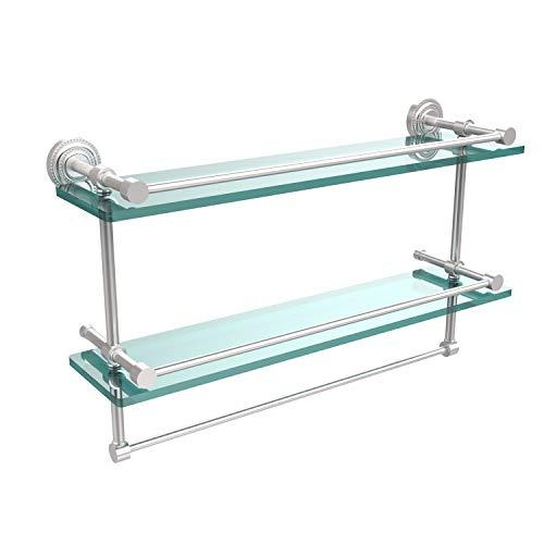 Allied Brass DT-2TB/22-GAL-SCH Dottingham 22 Inch Gallery Double Towel Bar Glass Shelf, Satin Chrome