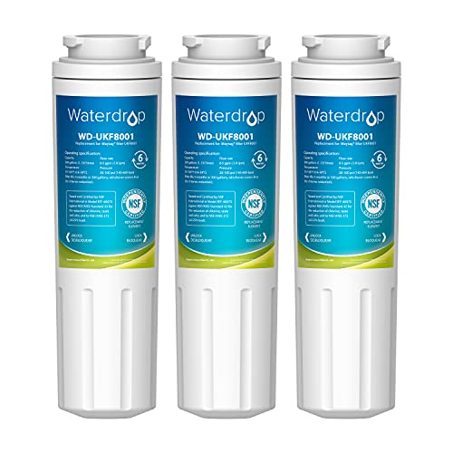 Waterdrop UKF8001 Compatible with Whirlpool EDR4RXD1, 4396395, EveryDrop Filter 4, Maytag UKF8001P, UKF8001AXX-750, Refrigerator Water Filter, Pack of 3
