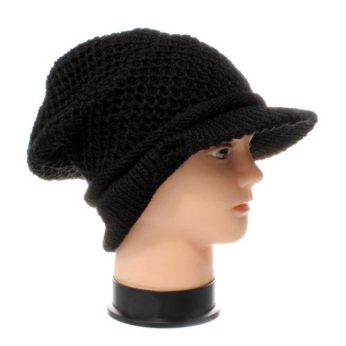 Accessoryo - Noir Tricoté Jamican De Style Bonnet À Visière - d'une Taille Plus